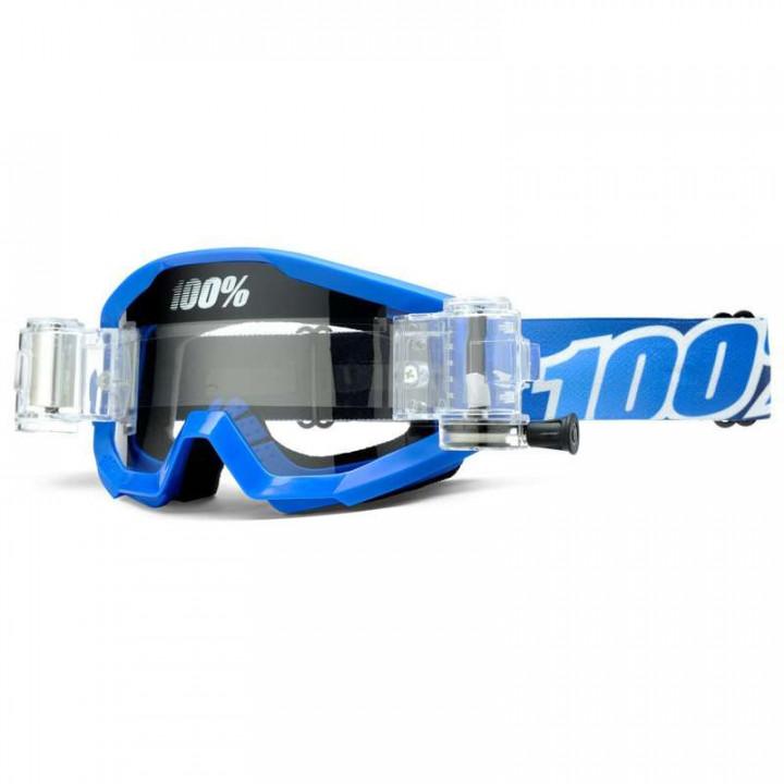 Masque moto cross 100% STRATA Roll-Off BLUE LAGOON