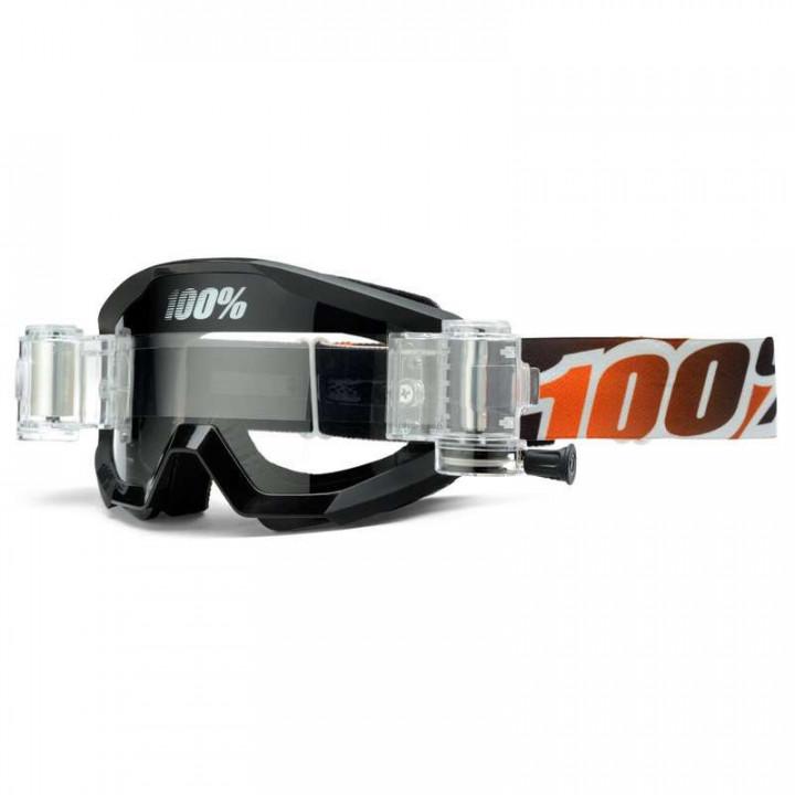 Masque moto cross 100% STRATA Roll-Off BLACK MANDARINA