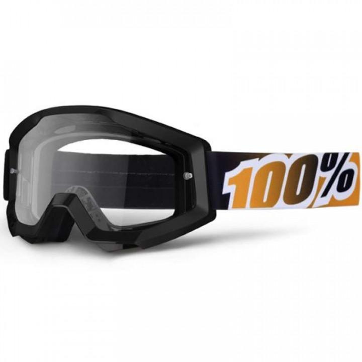 Masque moto cross 100% STRATA BLACK MANDARINA