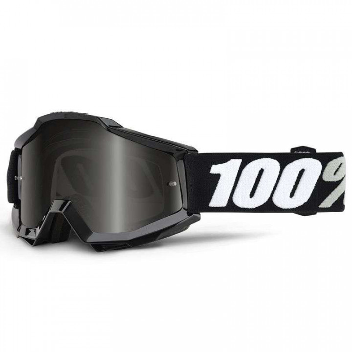 Masque moto cross 100% ACCURI BLACK TORNADO SAND - GREY LENS