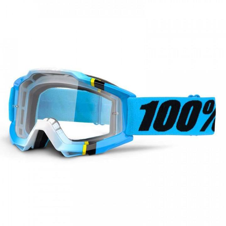 Masque moto cross 100% ACCURI BLUE CRYSTAL CLAIR