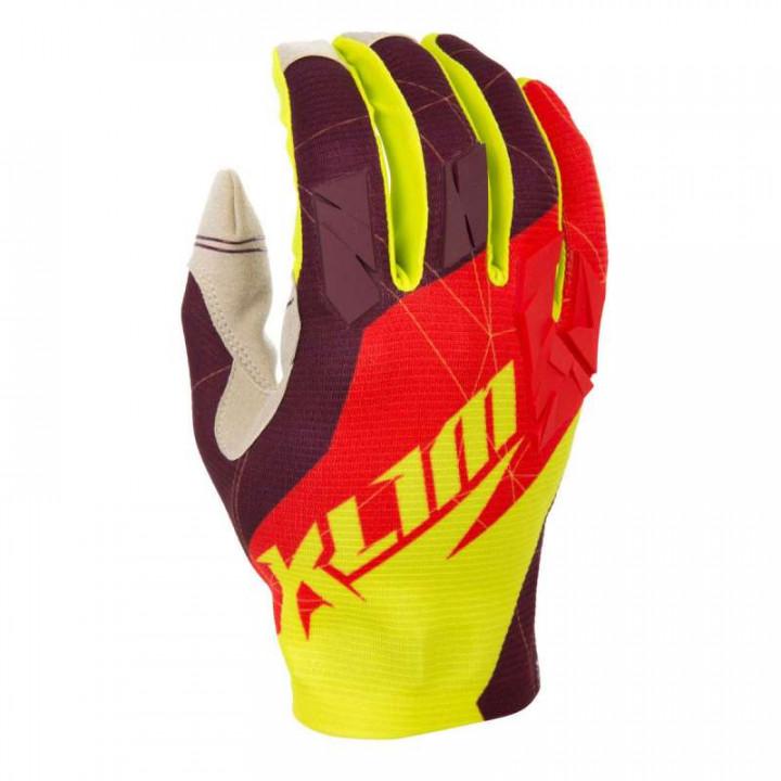 Gants moto Klim XC GLOVE rouge/jaune