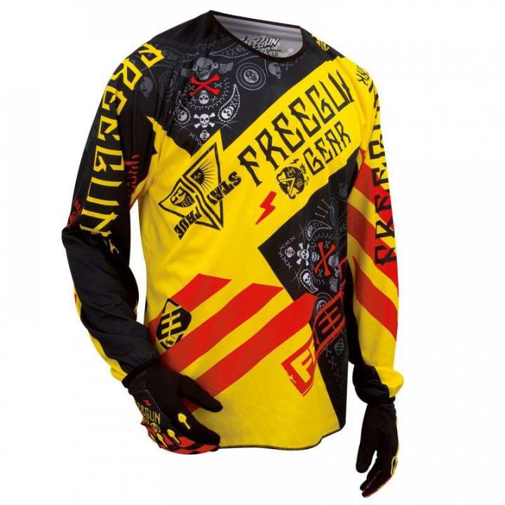 Maillot moto cross Freegun DEVO BANDANA 2016 JAUNE/ROUGE