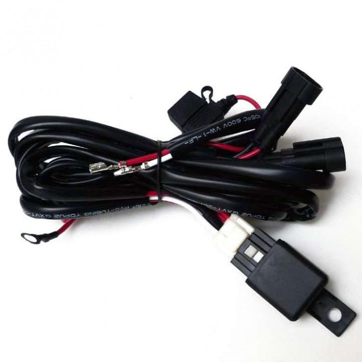 Faisceau électrique double sorties + relais pour feux additionnels moto/quad