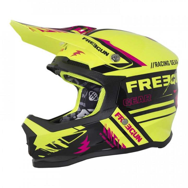 Casque moto cross enfant Freegun XP4 KID NERVE 2018 NEON JAUNE/ROSE