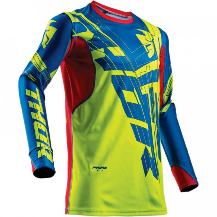 Maillot moto cross Thor PRIME FIT 2018 PARADIGM LIME/BLUE