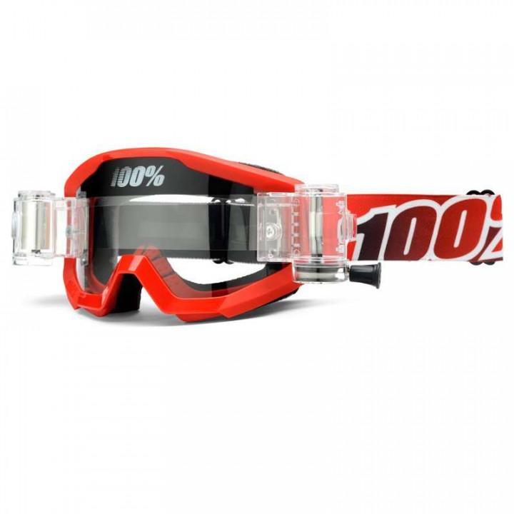 Masque moto cross 100% STRATA Roll-Off FIRE RED