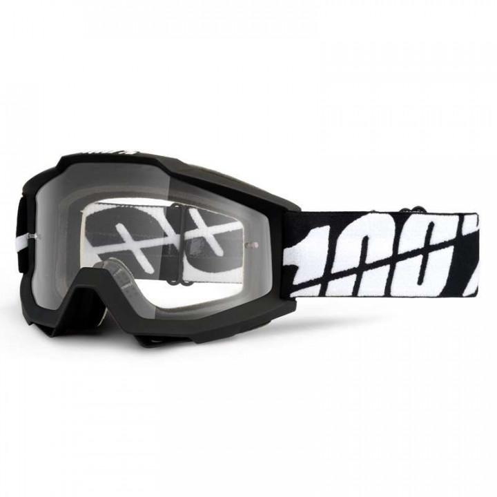 Masque moto cross 100% ACCURI BLACK TORNADO ENDURO - DUAL LENS